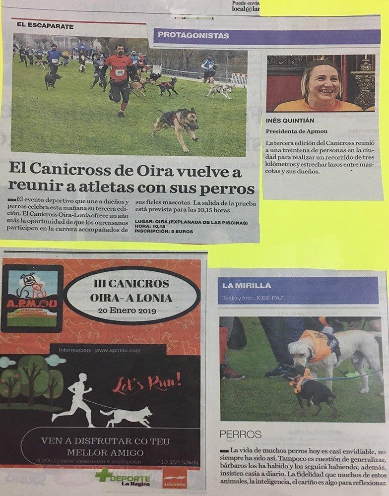 Recortes de prensa del Canicross Oira