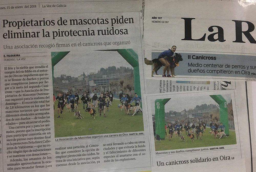 Recorte de La Voz de Galicia sobre pirotecnia ruidosa