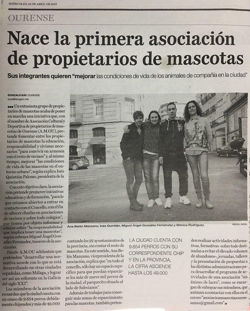 Recorte de prensa nacimiento de APMOU